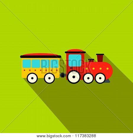 Train in amusement park flat icon