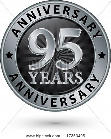 95 Years Anniversary Silver Label, Vector Illustration
