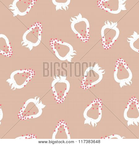 Vector Pattern Of White Trawberries On Pink Background