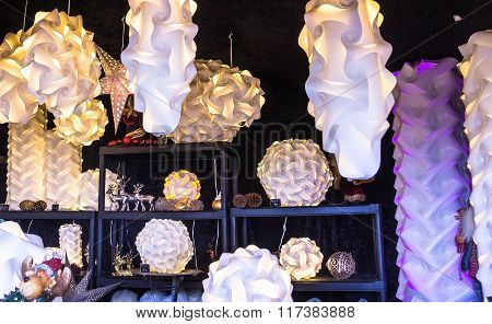 Paper Lanterns sold in outdoor store at Christmas Market