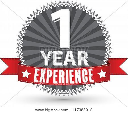 1 Year Experience Retro Label With Red Ribbon, Vector Illustration