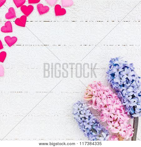 Valentines Day Background With Hearts And Hyacinth Flowers. Top View