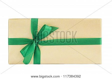 Wrapped Gift Box With Green Ribbon Isolated Over White Background