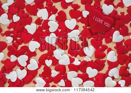 Valentines Day Background With White And Red Hearts. Toned, Copy Space