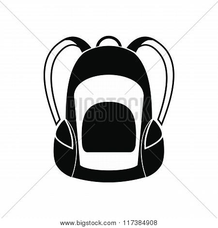 Touristic backpack black simple icon