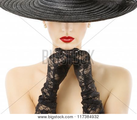 Woman Gloves Wide Brim Hat Red Lips, Girl In Black Widebrim Hat Hide Face On White