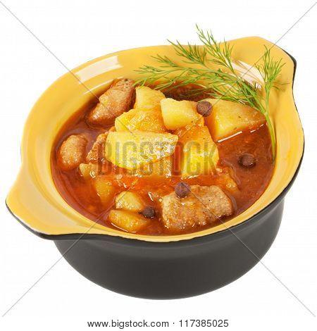 Pot Of Stewed Potatoes.