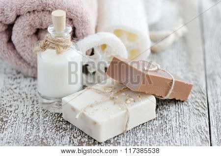 Handmade Soap With Oatmeal, Milk And Cocoa