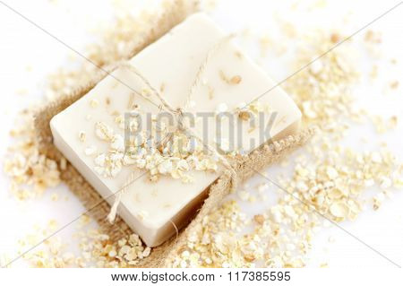 Handmade Soap With Oatmeal And Milk On A White Background