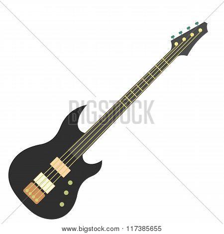 Flat electric guitar icon