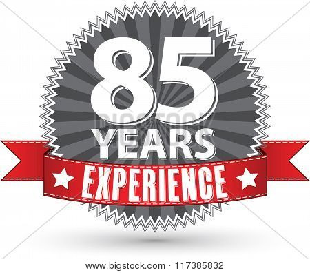 85 Years Experience Retro Label With Red Ribbon, Vector Illustration