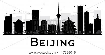Beijing City skyline black and white silhouette. Simple flat concept for tourism presentation, banner, placard or web. Business travel concept. Cityscape with landmarks