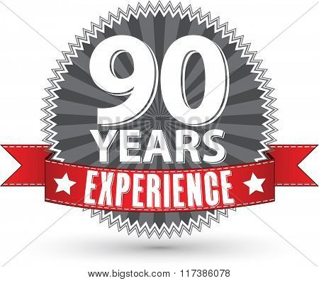 90 Years Experience Retro Label With Red Ribbon, Vector Illustration