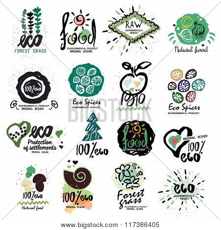 Healthy organic food labels for vegetarians logo. Restaurant, vegetarian cafe menu sign, symbol.