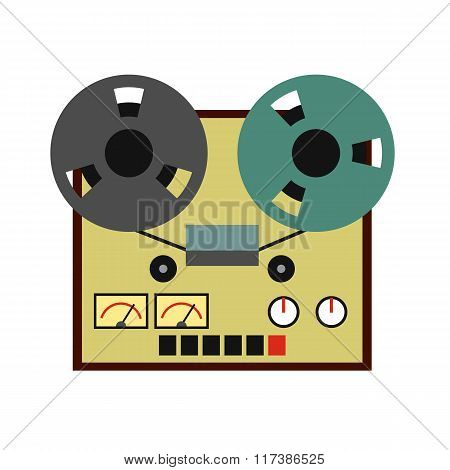 Reel tape recorder flat icon