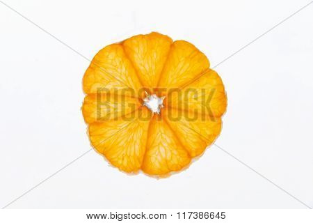 slices tangerine  on a white background