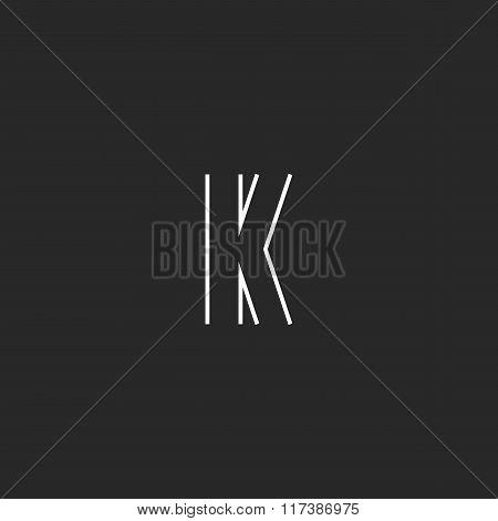 Initial Letter K Logo Creative Emblem, Mockup Monogram Symbol Deco Design Element