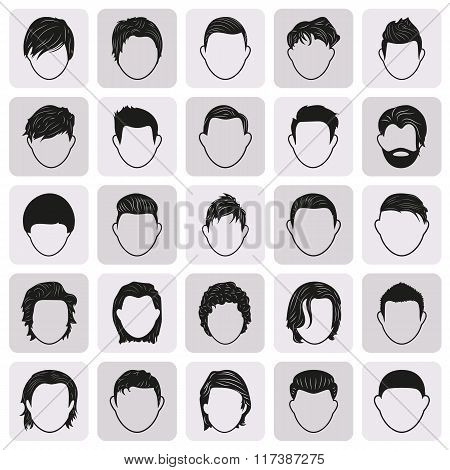 man male hairstyle black simple icons set