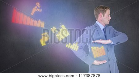 Handsome businessman gesturing with hands against room with wooden floor