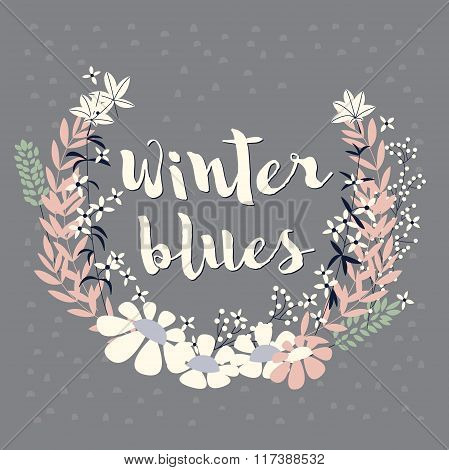 Colorful collection of winter floral arrangement and flowers for invitation, wedding, greeting card
