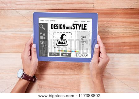 Designer interface against overhead of feminine hands using tablet