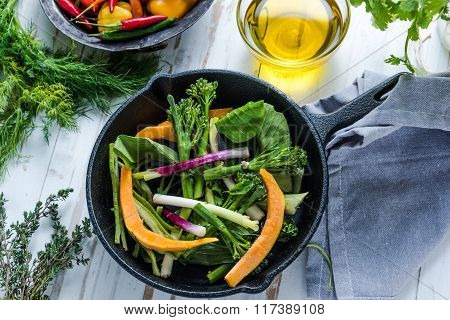 Stir Fry Vegetables In Pan