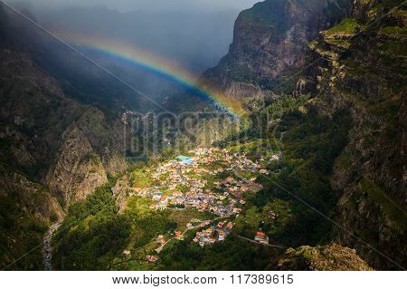 Rainbow Above Small Village Curral Das Freiras