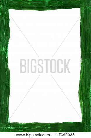 Dark Green Painted Narrow Frame On White
