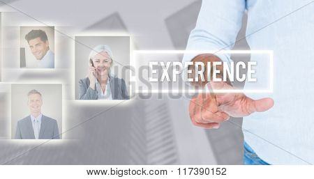 Man pointing something with his finger against skyscraper