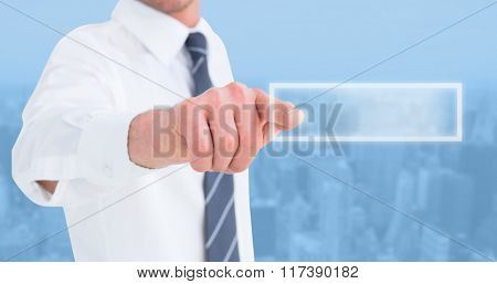 Businessman in shirt presenting at camera against new york