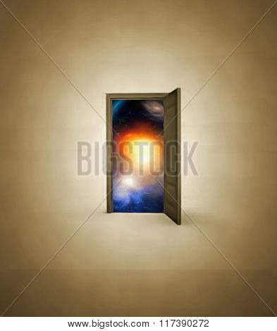 Doorway opens to space