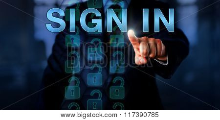 Entrepreneur Pointing At Sign In Onscreen