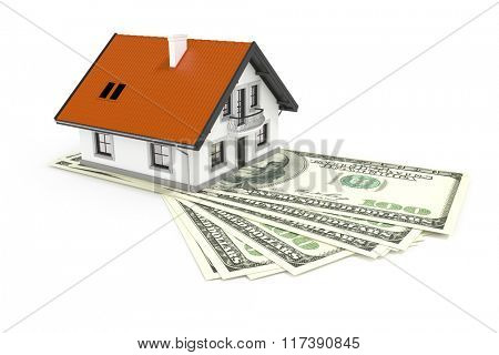 An image of a house above 100 Dollar banknotes