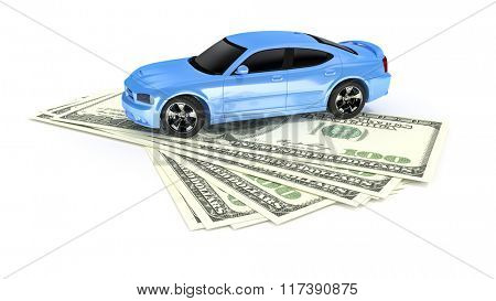 A cash for car symbol image with 100 Dollar banknotes