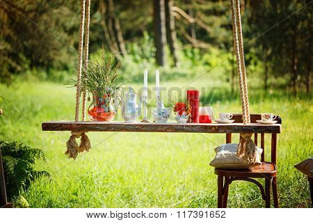 Decor Romantic Dinner With  Candles,flowers In Green Forest  Dur