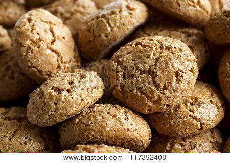 Macro Detail Of Many  Italian Amaretti Biscuits With Selective Focus.