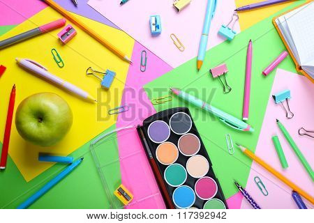 School Supplies On Colorful Background
