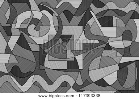A Cubist Abstract Background with Swirling Lines and Shapes and Brushed Metal Texture