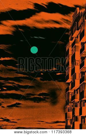 Multistory House Against Of Orange Dramatic Full Moon Sky.