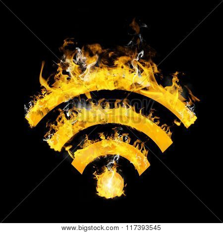 WiFi sign on fire against black
