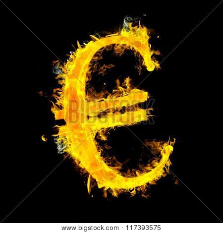 Euro sign on fire against black
