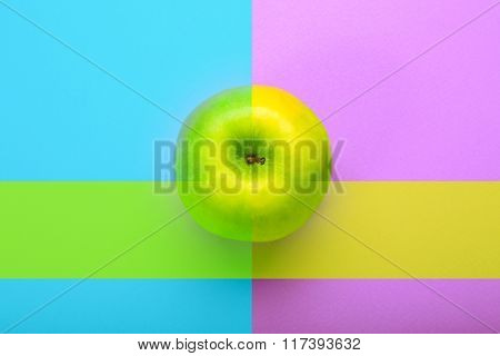 Whole Apple On Bright Abstract Background