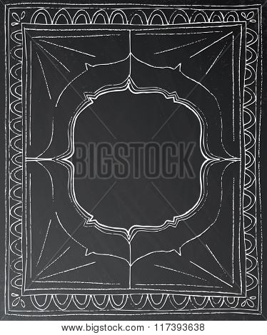 Chalk painted frame on black background. Vector illustration. Business concept with black chalkboard and copy space.