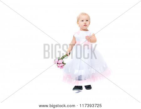 Beautiful little girl with flowers in her hands. Studio shot. Isolated on white background.