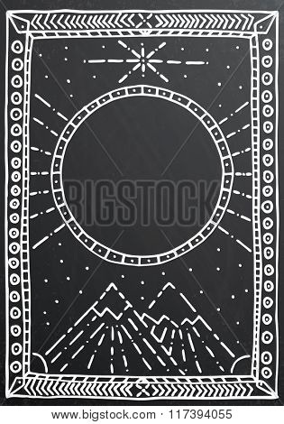 Hand drawn outline white frame on black chalk board. Vector illustration. Education or business concept with mountain and copy space.