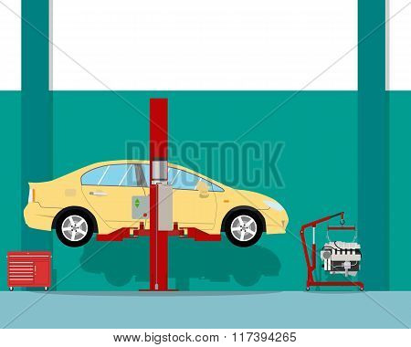 View of the interior of the inside of the garage to repair a car engine. Car repair. Vector illustra