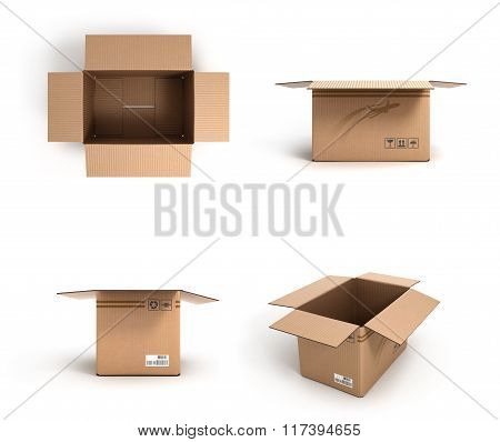 Collection Of Various Open Cardboard Boxes On White Background