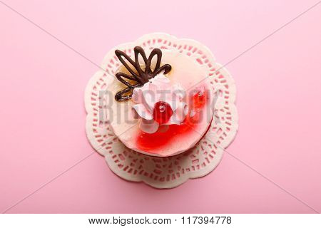 Delicious Dessert On Pink Background