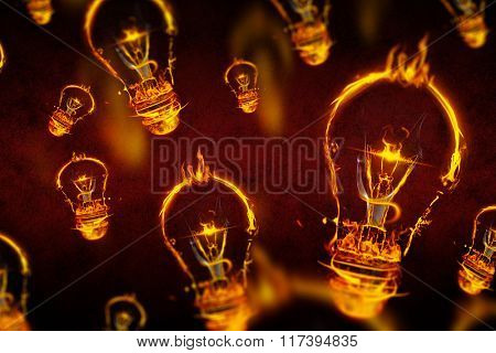 Bulb on fire on white background against dark background