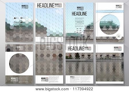 Business templates for brochure, flyer or booklet. Backyard landscape. Collection of abstract multic